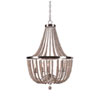 This item: Grace Brushed Steel Five-Light Chandelier with White Woods Beads