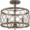 This item: Hayden Silver Leaf and Gold Three-Light Semi Flush Mount