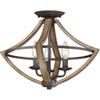 This item: Afton Black Three-Light Semi Flush Mount