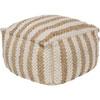 This item: Quinn White and Khaki Stripe Pouf