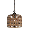 This item: Hana Natural Rattan and Rustic Black Three-Light Pendant
