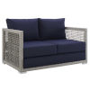 This item: Roat Gray and Navy Outdoor Patio Loveseat