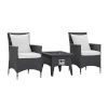 This item: Taryn Espresso and White Three Piece Outdoor Patio Furniture Set with Fire Pit, Two Dining Arm Chairs