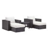 This item: Darren Espresso and White Five Piece Outdoor Patio Furniture Set with Fire Pit, Two Armchairs, Two Ottomans