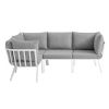 This item: Taryn White and Gray Four Piece Outdoor Patio Furniture Set with Armless Chair, Three Corner Chair