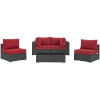 This item: Darren Canvas Red Five Piece Outdoor Patio Furniture Set with Coffee Table, Two Armless Chairs, Two Corners