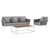 This item: Taryn White and Gray Three Piece Outdoor Patio Furniture Set with Armchair, Coffee Table, Sofa