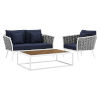 This item: Taryn White and Navy Three Piece Outdoor Patio Furniture Set with Armchair, Coffee Table, Loveseat