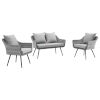 This item: Taryn Gray Three Piece Outdoor Patio Furniture Set with Loveseat, Two Armchair