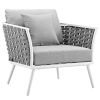 This item: Taryn White and Gray Outdoor Patio Arm Chair