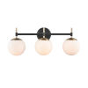 This item: Pax Matte Black and Modern Gold 24-Inch Three-Light Bath Vanity