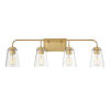 This item: Loring Natural Brass Four-Light Bath Vanity