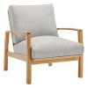 This item: Darren Natural Light Gray Outdoor Patio Eucalyptus Wood Lounge Armchair