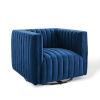 This item: Cooper Navy Channel Tufted Performance Velvet Swivel Armchair
