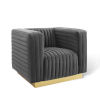 This item: Cooper Charcoal Channel Tufted Performance Velvet Accent Armchair