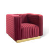 This item: Cooper Maroon Channel Tufted Performance Velvet Accent Armchair