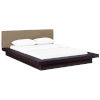 This item: Uptown Cappuccino Latte Queen Fabric Platform Bed