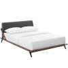 This item: Uptown Walnut Gray Queen Upholstered Fabric Platform Bed