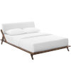 This item: Uptown Walnut White Queen Upholstered Fabric Platform Bed