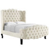This item: Vivian Ivory Queen Tufted Wingback Performance Velvet Platform Bed