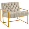 This item: Cooper Beige Gold Stainless Steel Upholstered Fabric Accent Chair