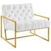 This item: Cooper White Gold Stainless Steel Upholstered Fabric Accent Chair