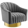 This item: Cooper Gray Vertical Channel Tufted Accent Lounge Performance Velvet Swivel Chair