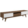 This item: Uptown Walnut White 70-Inch Media Console Wood TV Stand