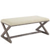 This item: Hayden Beige Vintage French X-Brace Upholstered Fabric Bench
