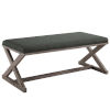 This item: Hayden Gray Vintage French X-Brace Upholstered Fabric Bench