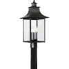 This item: Bryant Black Three-Light Outdoor Post Mount with Clear Glass