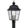This item: Bryant Black Three-Light Outdoor Post Mount with Clear Seedy Glass