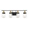 This item: Revolution Vintage Black and Warm Brass Four-Light Bath Vanity