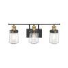 This item: Revolution Vintage Black and Warm Brass Three-Light Bath Vanity