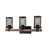 This item: Finn Matte Black and Wood Grain Three-Light Bath Vanity