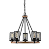 This item: Finn Matte Black and Wood Grain Five-Light Chandelier