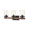 This item: Ash Matte Black and Wood Grain Three-Light Bath Vanity
