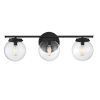 This item: Cora Matte Black Three-Light Bath Vanity with Clear Glass