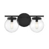 This item: Cora Matte Black Two-Light Bath Vanity with Clear Glass