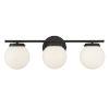 This item: Cora Matte Black Three-Light Bath Vanity with Opal Glass