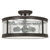 This item: Uptown Old Bronze Three-Light Outdoor Semi-Flush with Antique Glass