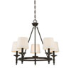 This item: Wellington Rubbed Bronze Five-Light Traditional Chandelier with White Fabric Shade