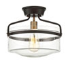 This item: Afton Rubbed Bronze and Brass One-Light Drum Semi-Flush Mount