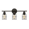 This item: Afton Rubbed Bronze Caged Three-Light Industrial Vanity