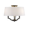 This item: Lyndale Bronze Three-Light Convertible Semi-Flush Mount with Classic White Shade