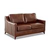 This item: Ansley Chestnut Leather Wood Base Loveseat
