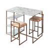 This item: Marmo Brass Dining Set with Faux Marble Top