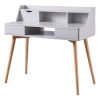 This item: Creativo Light Gray Desk with Solid Wood Leg