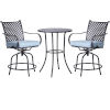 This item: Black and Blue Bar Height Patio Swivel Bistro Set with Cushions, 3 Piece
