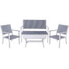 This item: White and Black Coastal Look Wicker Patio Conversation Set, 4 Piece
